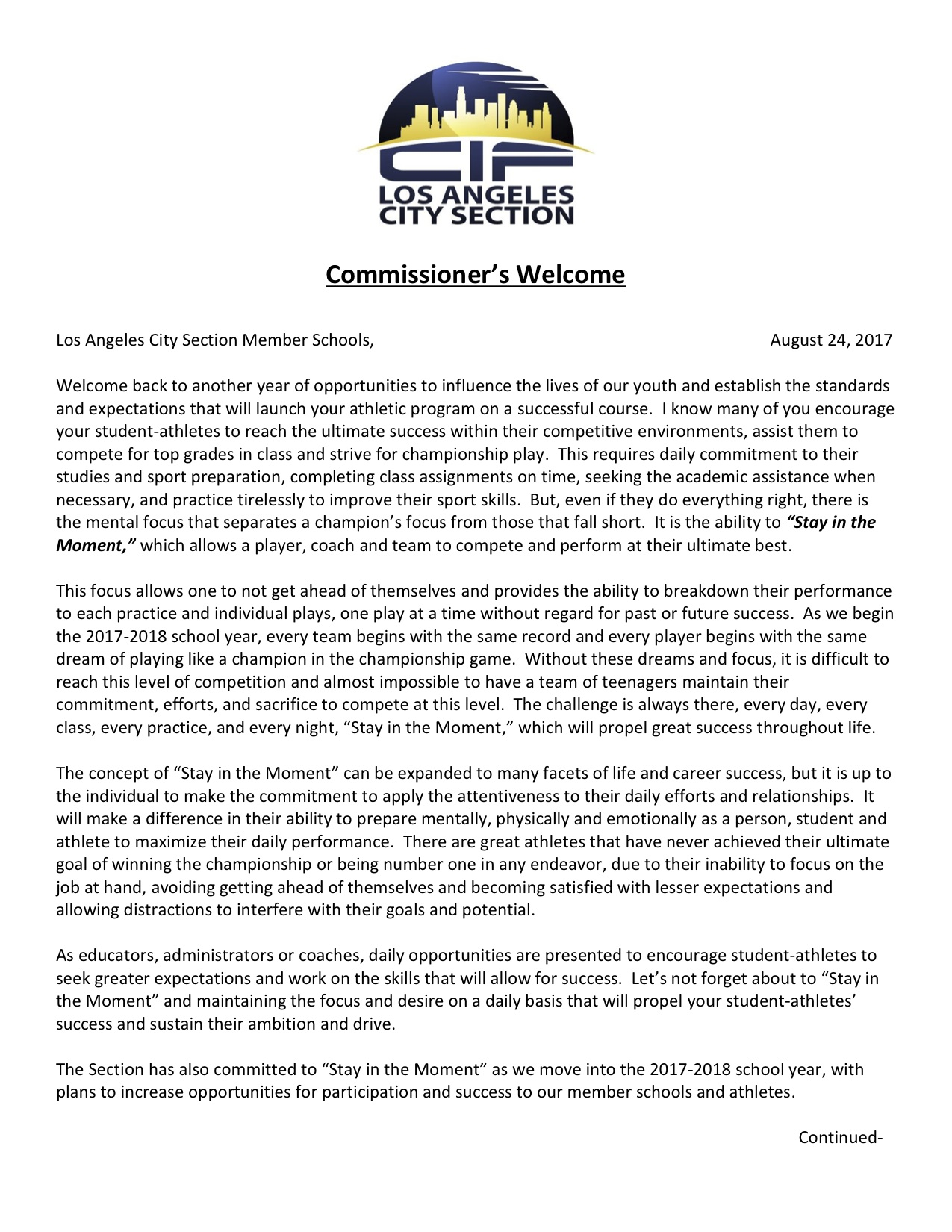 From the Commissioner's Desk – Fall 2017